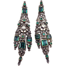 18th Century Iberian Court Earrings With Over 30cts of Diamonds and Emeralds