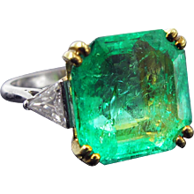 ~Reserved for MG~ 5.64ct Vintage Emerald Ring With Diamonds