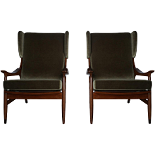 Modern Pair Of French Mahagony Arm Chairs