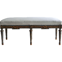 19th Century Gilded French Louis Xvi Style Upper Bench
