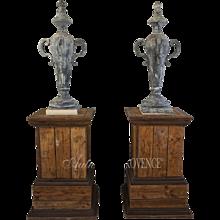 19th Century Pair Of Zinc Finials