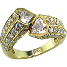 Two Hearts as One Diamond 18K Ring