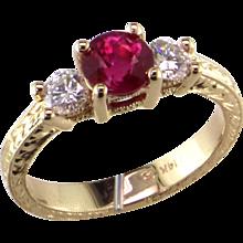 Burma Ruby & Diamond Ring