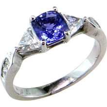 Cornflower Blue Sapphire & Triangle Diamond Platinum Ring