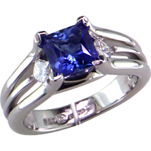 Princess Cut Blue Sapphire & Diamond Platinum Engagement Ring