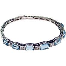 Art Deco Aquamarine & Diamond 18K Bracelet
