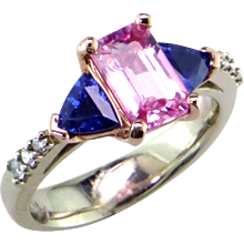 Pink and Blue Sapphires in 14K Rose & White Gold Ring