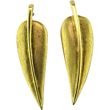 Tiffany 18 Karat Gold Leaf Earrings by Angela Cummings