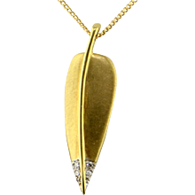Angela Cummings Diamond 18K & Platinum Leaf Pendant by Tiffany