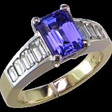 1.23 ct. Emerald Cut Tanzanite & Diamond Ring