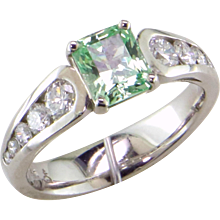 Mint Green Grossular Garnet & Diamond 14K Ring