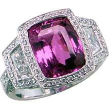 5.7 ct Magenta Sapphire & Diamond Platinum Ring