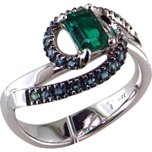 One-of-a-Kind Natural Emerald & Natural Alexandrite Ring
