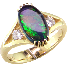 Black Opal & Diamond 14K Gold Ring
