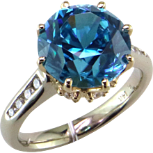 8.31 ct. Blue Zircon & Diamond 14K Ring