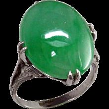 Art Deco Jadeite Platinum Ring
