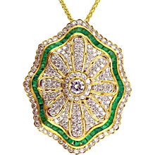 Emerald & Diamond 18K Gold Pendant/Pin