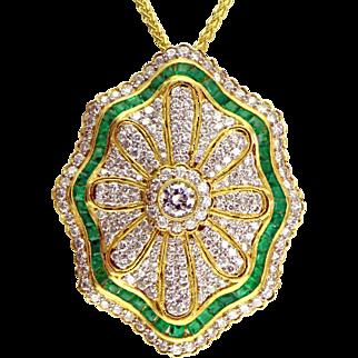 Emerald & Diamond 18K Gold Pendant/Pin