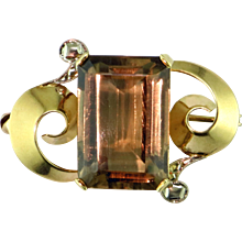 Retro Citrine 18K Pin