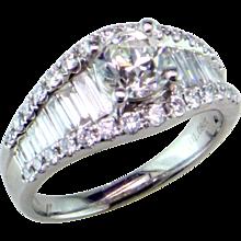 Antique Diamond in Modern Baguette & Round Diamond Ring