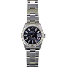 Rolex Stainless Steel Midsize DateJust Wristwatch, Black Pearl Dial, Baguette Diamond Hour Markers, 18 Karat White Gold Diamond Bezel