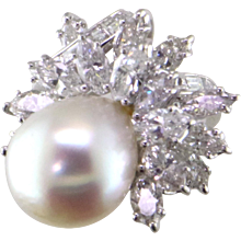 15 mm South Sea & 4.75 cts. Diamond Platinum ring