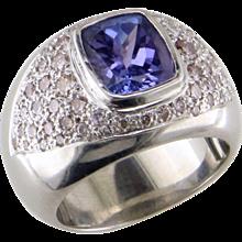 Tanzanite & Diamond 14K White Gold Ring
