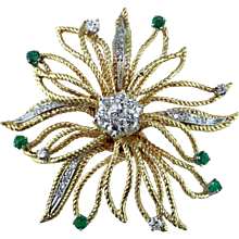 Diamond & Emerald 14K Starburst Pendant