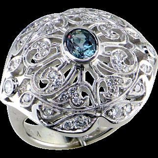 Alexandrite and Diamond 14K Ring - A Mardon Original