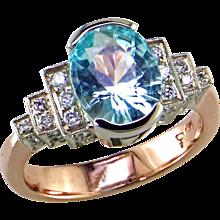 Cuprian Tourmaline & Diamond 14K Rose Gold Ring