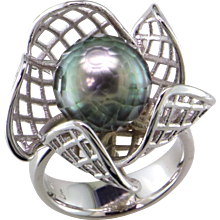 Tahiti Faceted Black Pearl 14K White Gold Ring