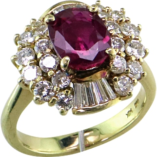 2.2 ct. Ruby & Diamond 14K Ring
