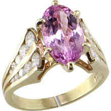 Fine 3.23 ct Pink Topaz & Diamond Ring