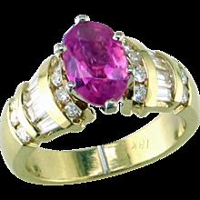Hot Pink Sapphire & Diamond 18K Ring