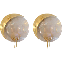 Pair Italian Lunar Sconces 1960's