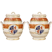 Pair of Armorial Ice Pails Flight & Barr Worcester, Irish Coat of Arms 1801