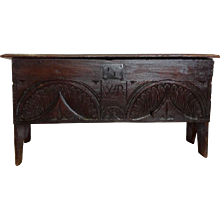 Antique English Carved Oak Blanket Chest, 17th Century