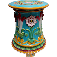 Minton Majolica Passion Flower Footed Garden Seat