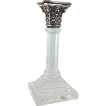 Corinthian Column Candlestick Cut Glass and Sterling English