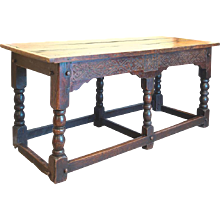 Oak Refectory Table Dated 1692