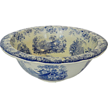 """Blue Staffordshire Punch Bowl Genevese 22"""""""