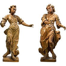 Large Pair of Baroque Wood Figures  Early 18th