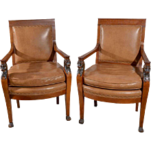 Pair Charles X Lion Arm Chairs 1830's