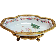 Chinese Export Center Bowl with Ormolu Mounts 18th Century