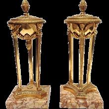 Empire Period Gilt Bronze Sienna Marble Atheniennes or Candlesticks