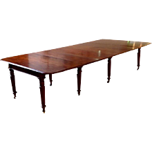 "Mahogany Dining Table England Late 19th Century 60"" Deep"