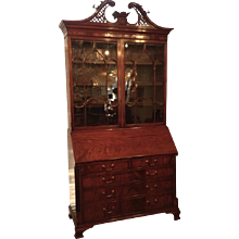 English Secretary Bookcase Mahogany, Mid-19th Century
