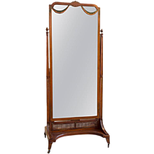 Satinwood Cheval Mirror 1920's