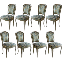 Jansen Painted Chairs Group of Eight Louis XV Style