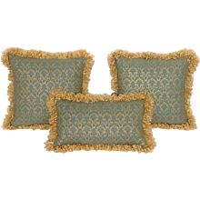 Trio of Fortuny Pillows Blue and Gold